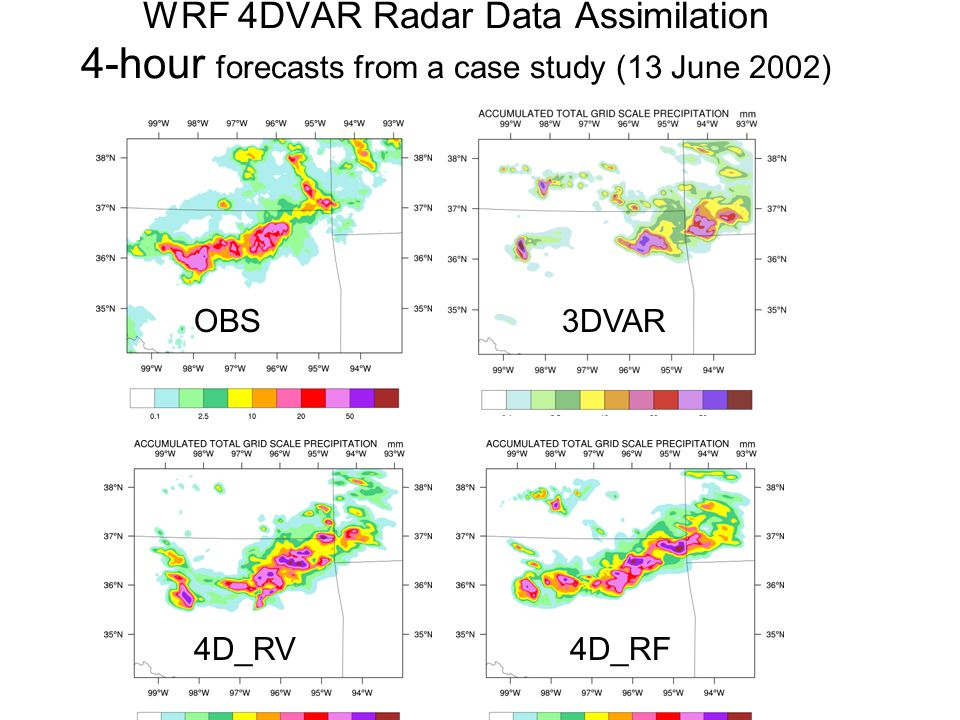WRF 4DVAR Radar Data Assimilation 4-hour forecasts from a case study (13 June 2002) OBS3DVAR 4D_RV4D_RF