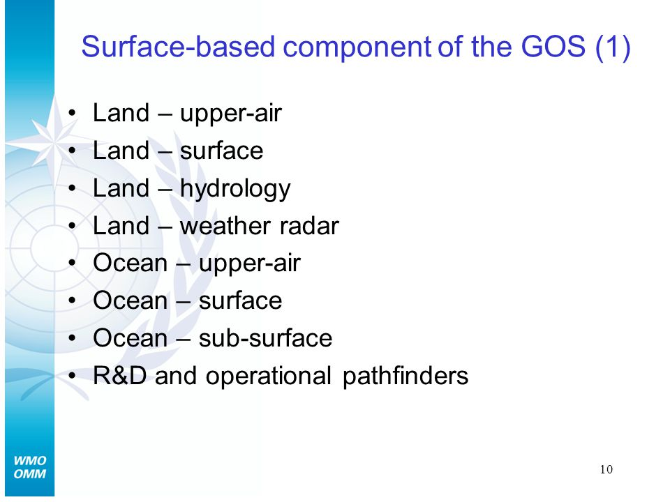 10 Surface-based component of the GOS (1) Land – upper-air Land – surface Land – hydrology Land – weather radar Ocean – upper-air Ocean – surface Ocean – sub-surface R&D and operational pathfinders