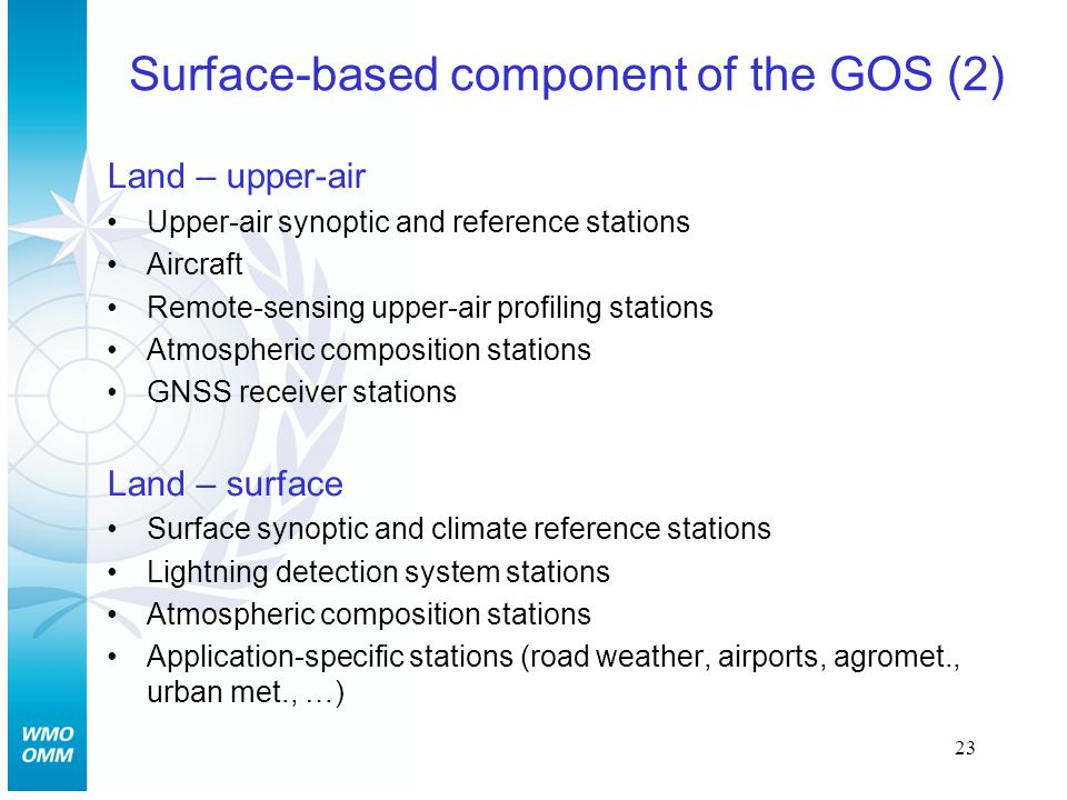 23 Surface-based component of the GOS (2) Land – upper-air Upper-air synoptic and reference stations Aircraft Remote-sensing upper-air profiling stations Atmospheric composition stations GNSS receiver stations Land – surface Surface synoptic and climate reference stations Lightning detection system stations Atmospheric composition stations Application-specific stations (road weather, airports, agromet., urban met., …)