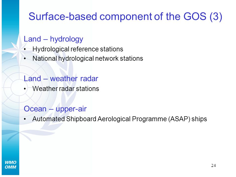 24 Surface-based component of the GOS (3) Land – hydrology Hydrological reference stations National hydrological network stations Land – weather radar Weather radar stations Ocean – upper-air Automated Shipboard Aerological Programme (ASAP) ships