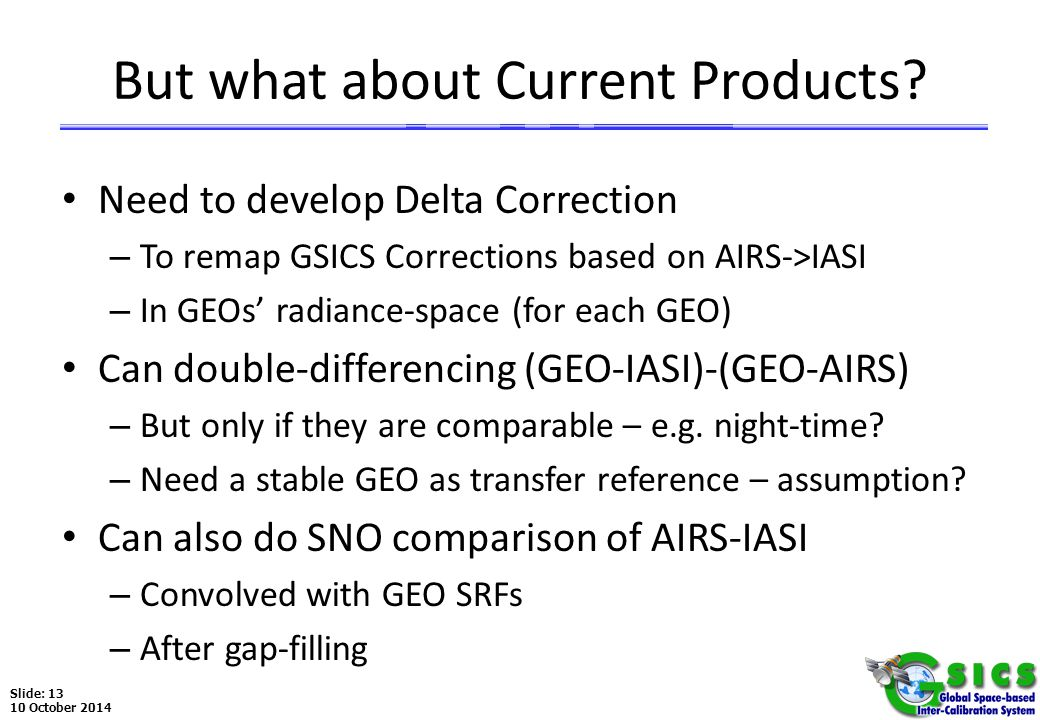 Slide: 13 10 October 2014 But what about Current Products.