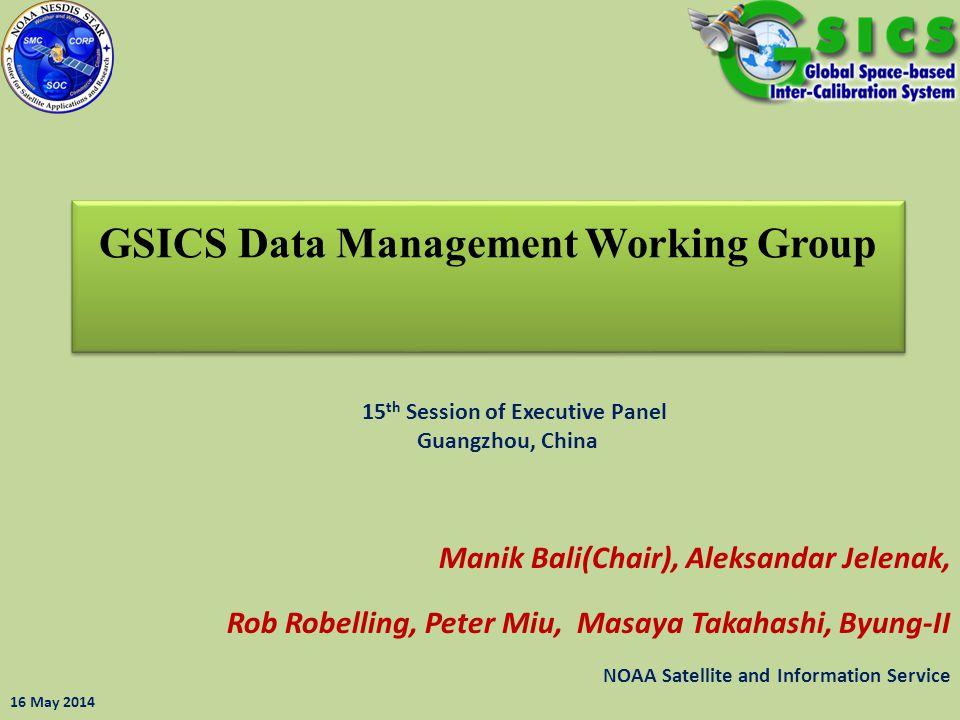 GSICS Data Management Working Group Manik Bali(Chair), Aleksandar Jelenak, Rob Robelling, Peter Miu, Masaya Takahashi, Byung-II NOAA Satellite and Inf