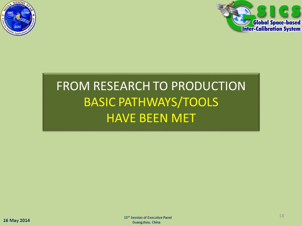 FROM RESEARCH TO PRODUCTION BASIC PATHWAYS/TOOLS HAVE BEEN MET 18 15 th Session of Executive Panel Guangzhou, China 16 May 2014