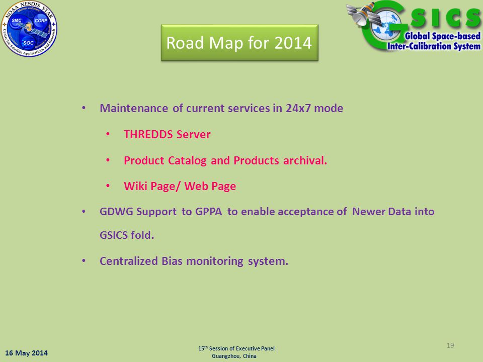 19 Maintenance of current services in 24x7 mode THREDDS Server Product Catalog and Products archival. Wiki Page/ Web Page GDWG Support to GPPA to enab