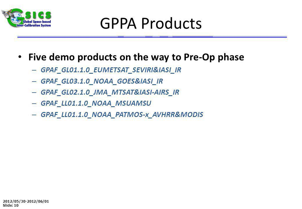 2012/05/30-2012/06/01 Slide: 10 GPPA Products Five demo products on the way to Pre-Op phase – GPAF_GL01.1.0_EUMETSAT_SEVIRI&IASI_IR – GPAF_GL03.1.0_NOAA_GOES&IASI_IR – GPAF_GL02.1.0_JMA_MTSAT&IASI-AIRS_IR – GPAF_LL01.1.0_NOAA_MSUAMSU – GPAF_LL01.1.0_NOAA_PATMOS-x_AVHRR&MODIS