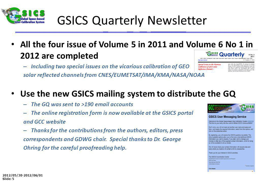2012/05/30-2012/06/01 Slide: 5 GSICS Quarterly Newsletter All the four issue of Volume 5 in 2011 and Volume 6 No 1 in 2012 are completed – Including two special issues on the vicarious calibration of GEO solar reflected channels from CNES/EUMETSAT/JMA/KMA/NASA/NOAA Use the new GSICS mailing system to distribute the GQ – The GQ was sent to >190 email accounts – The online registration form is now available at the GSICS portal and GCC website – Thanks for the contributions from the authors, editors, press correspondents and GDWG chair.