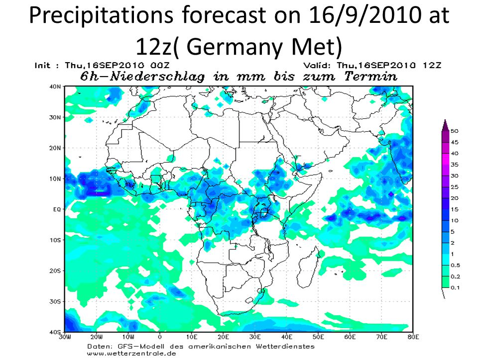 Precipitations forecast on 16/9/2010 at 12z( Germany Met)