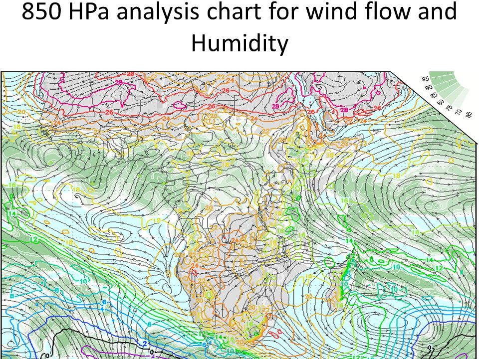 850 hPa wind flow forecast valid for the following day