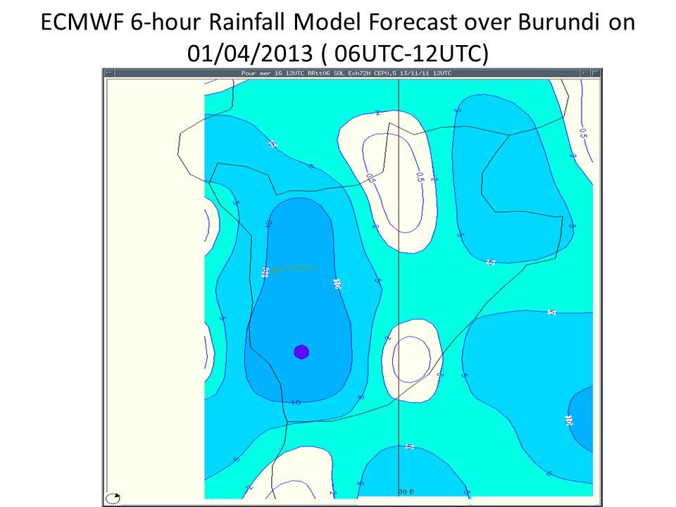 ECMWF 6-hour Rainfall Model Forecast over Burundi on 01/04/2013 ( 06UTC-12UTC)