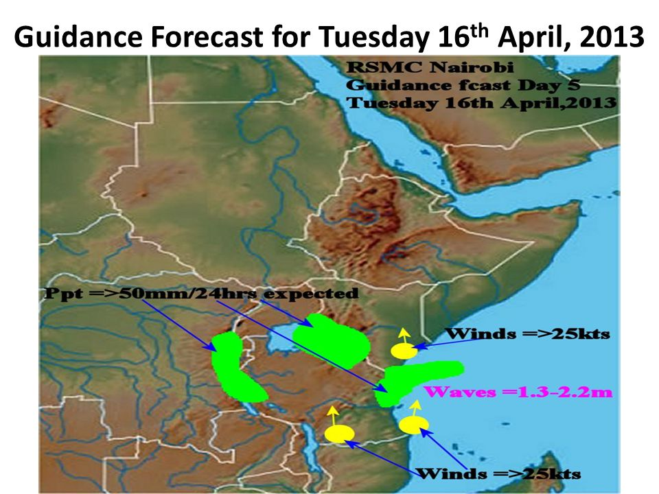 Guidance Forecast for Tuesday 16 th April, 2013