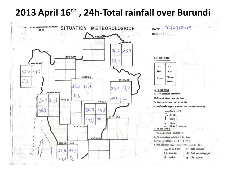 2013 April 16 th, 24h-Total rainfall over Burundi