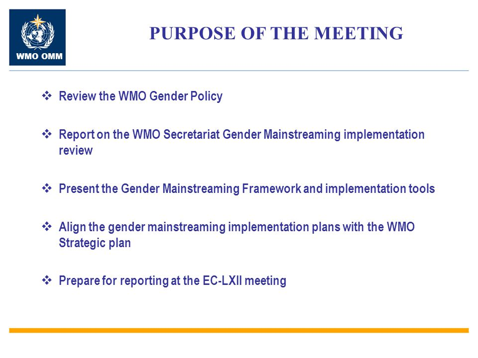 WMO OMM  Review the WMO Gender Policy  Report on the WMO Secretariat Gender Mainstreaming implementation review  Present the Gender Mainstreaming F