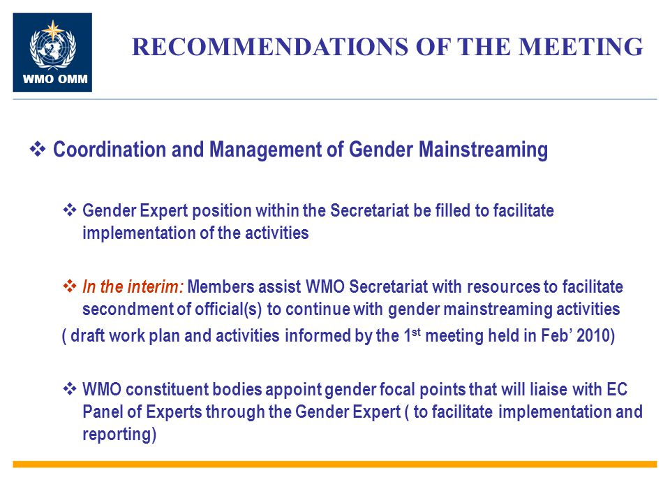 WMO OMM  Information Management and Communication  Gender page in the WMO website be made more visible and easily accessible from the main page  Gender mainstreaming be a standing agenda item in all WMO and constituent bodies meetings  The WMO strategic plan (2012-2015) should include specific reference to gender mainstreaming generally and specifically in Expected Result 6 in particular for developing and least developed countries RECOMMENDATIONS OF THE MEETING