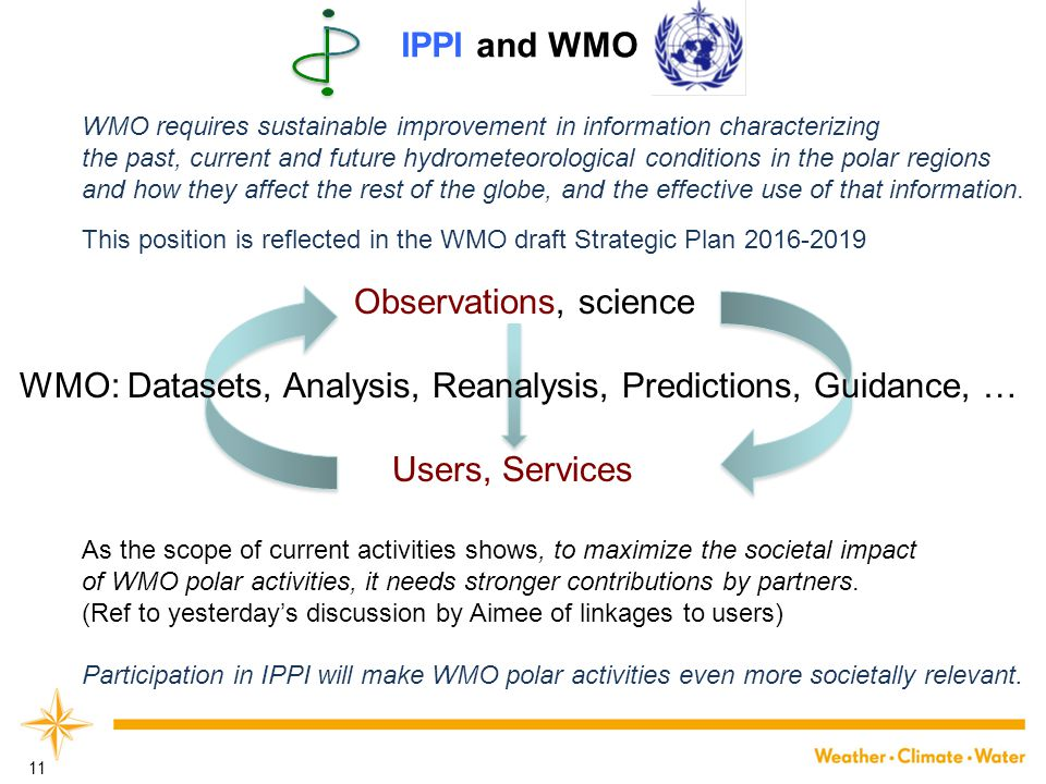 11 WMO requires sustainable improvement in information characterizing the past, current and future hydrometeorological conditions in the polar regions and how they affect the rest of the globe, and the effective use of that information.