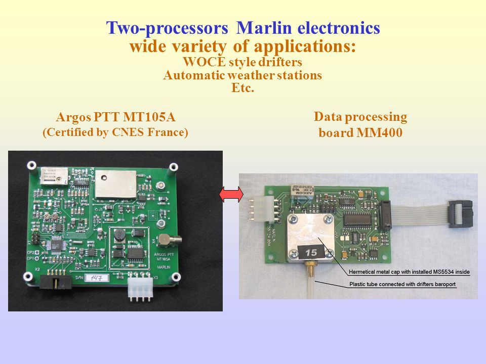 Two-processors Marlin electronics wide variety of applications: WOCE style drifters Automatic weather stations Etc.
