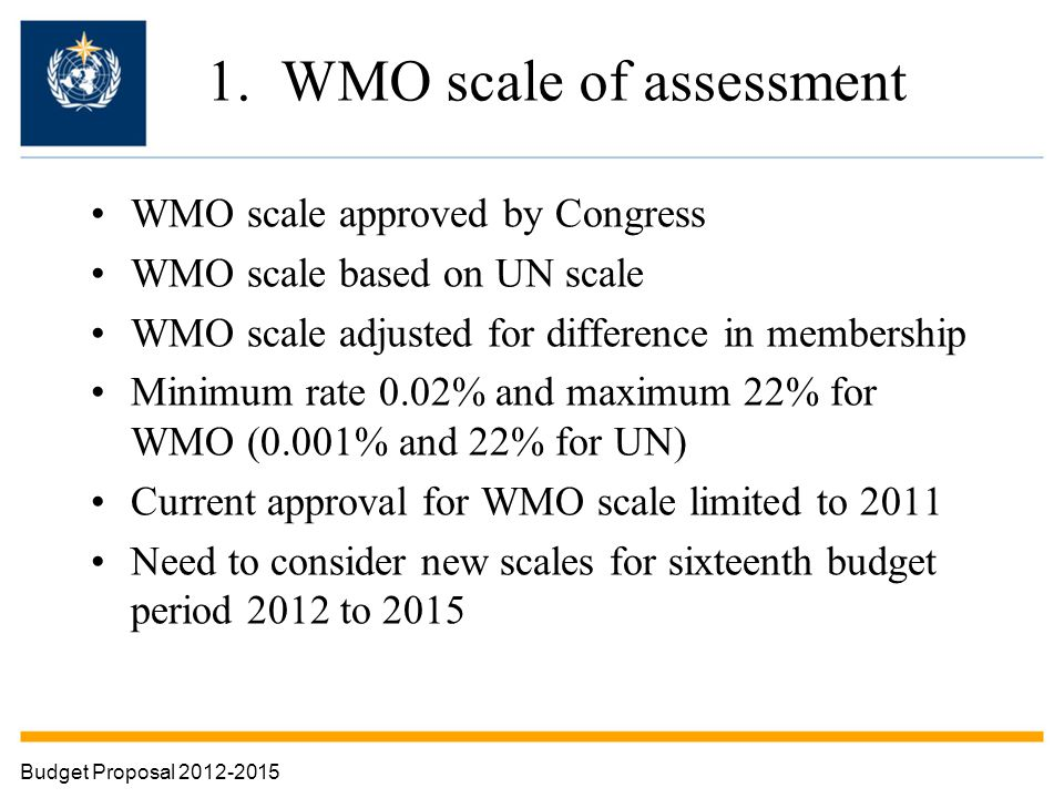 1. WMO scale of assessment WMO scale approved by Congress WMO scale based on UN scale WMO scale adjusted for difference in membership Minimum rate 0.0