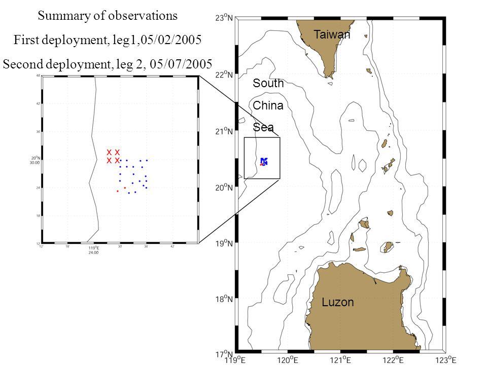 Summary of observations First deployment, leg1,05/02/2005 Second deployment, leg 2, 05/07/2005 xx xx South China Sea Luzon Taiwan