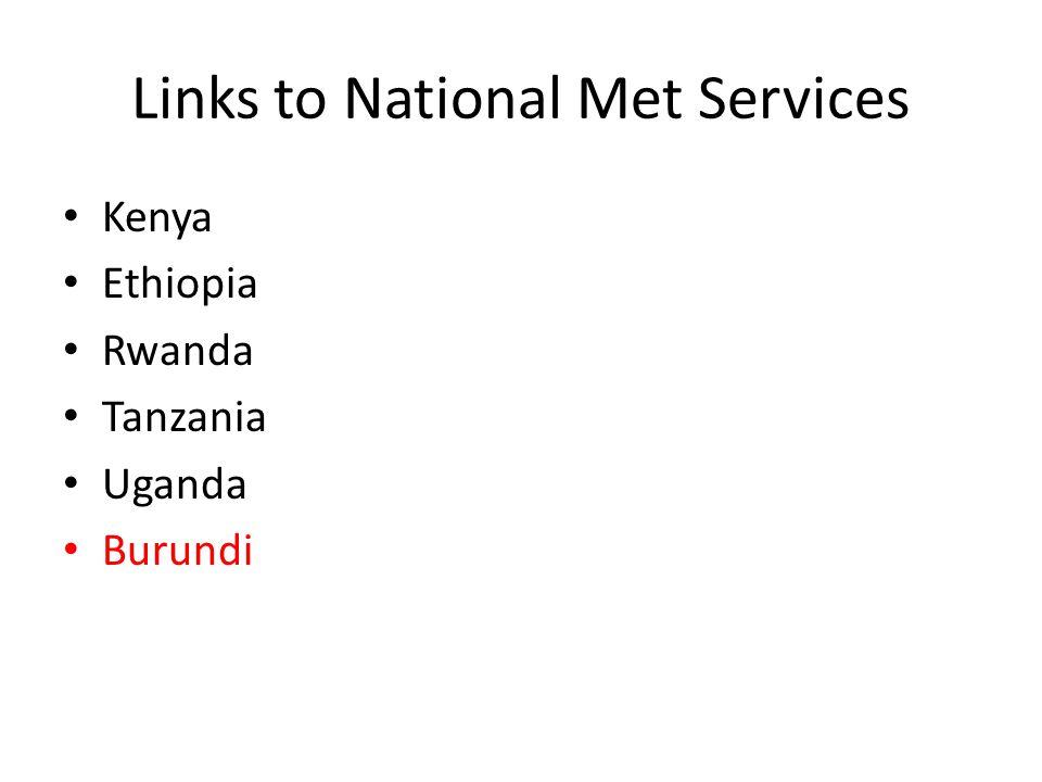 Links to National Met Services Kenya Ethiopia Rwanda Tanzania Uganda Burundi