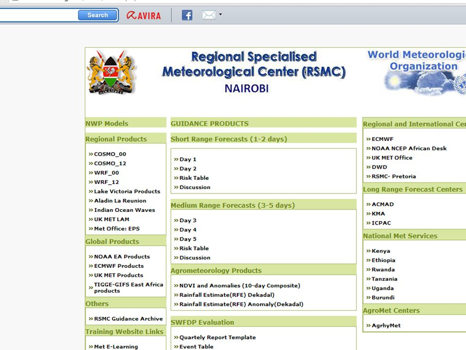 Heavy RainStrong Winds RISKNo risk Low riskMedium risk High risk No risk Low riskMedium risk High risk XX XX DRCXX N,EX XX SX XX RSMC-NAIROBI SWFDP GUIDANCE PRODUCTS RISK TABLES SHORT-RANGE (DAY 1 AND DAY 2) Issue Date: Saturday 19 th November 2011 In order to provide more information about the geographical location of the severe event the following convention is adopted when filling in the cells: X for the whole country, N for the northern part, S for the southern part, W for the western part and E for the eastern part.