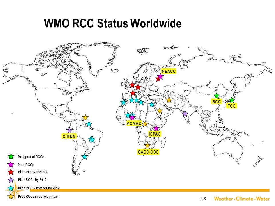 15 WMO RCC Status Worldwide Designated RCCs Pilot RCC Networks BCC TCC NEACC ICPAC ACMAD CIIFEN Pilot RCCs Pilot RCCs by 2012 Pilot RCC Networks by 20