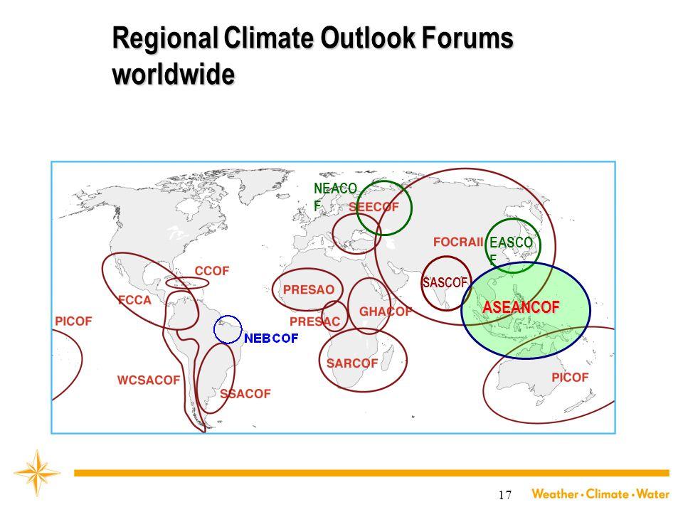 17 Regional Climate Outlook Forums worldwide SASCOF NEACO F EASCO F ASEANCOF