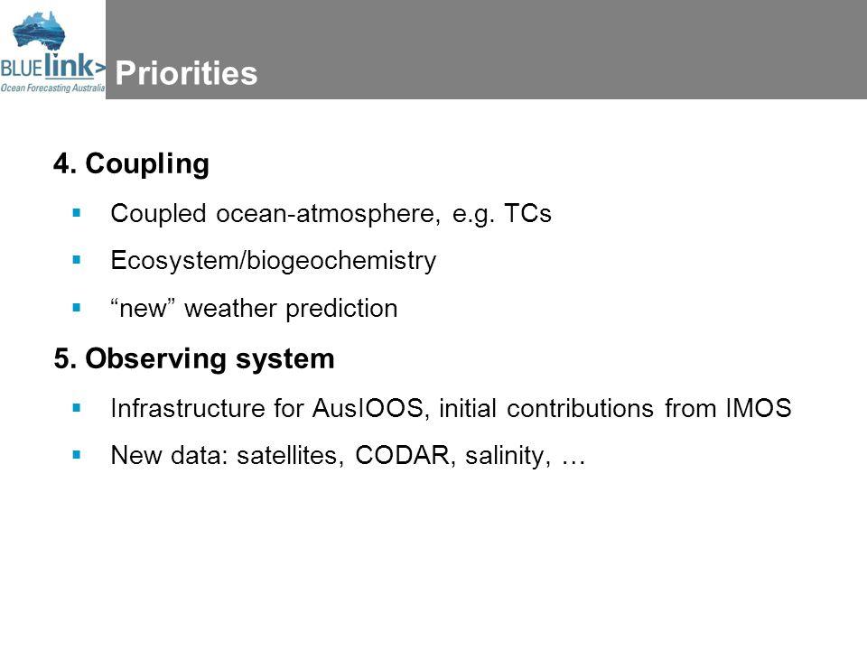 Priorities 4. Coupling  Coupled ocean-atmosphere, e.g.