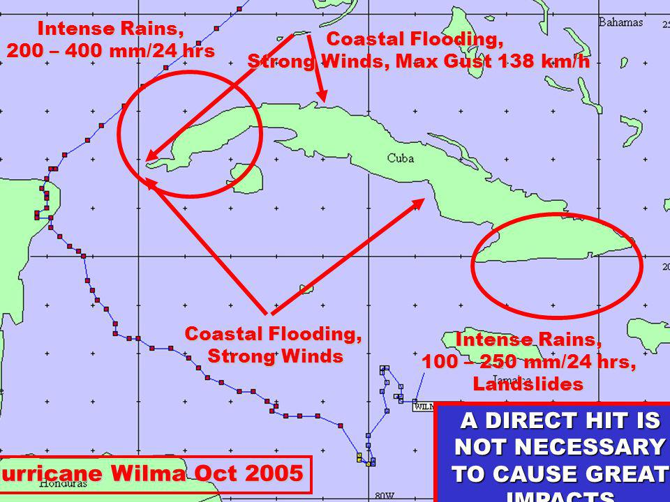 Intense Rains, 200 – 400 mm/24 hrs Intense Rains, 100 – 250 mm/24 hrs, Landslides Coastal Flooding, Strong Winds Strong Winds Coastal Flooding, Strong Winds, Max Gust 138 km/h Strong Winds, Max Gust 138 km/h Hurricane Wilma Oct 2005 A DIRECT HIT IS NOT NECESSARY TO CAUSE GREAT IMPACTS