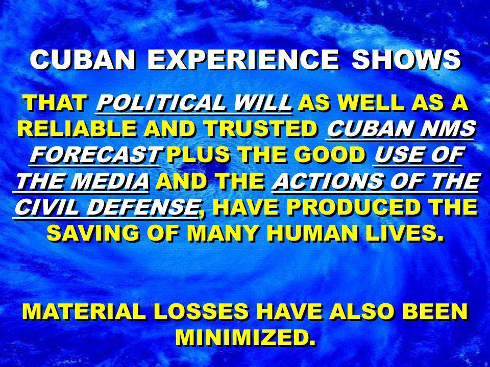 THAT POLITICAL WILL AS WELL AS A RELIABLE AND TRUSTED CUBAN NMS FORECAST PLUS THE GOOD USE OF THE MEDIA AND THE ACTIONS OF THE CIVIL DEFENSE, HAVE PRODUCED THE SAVING OF MANY HUMAN LIVES.