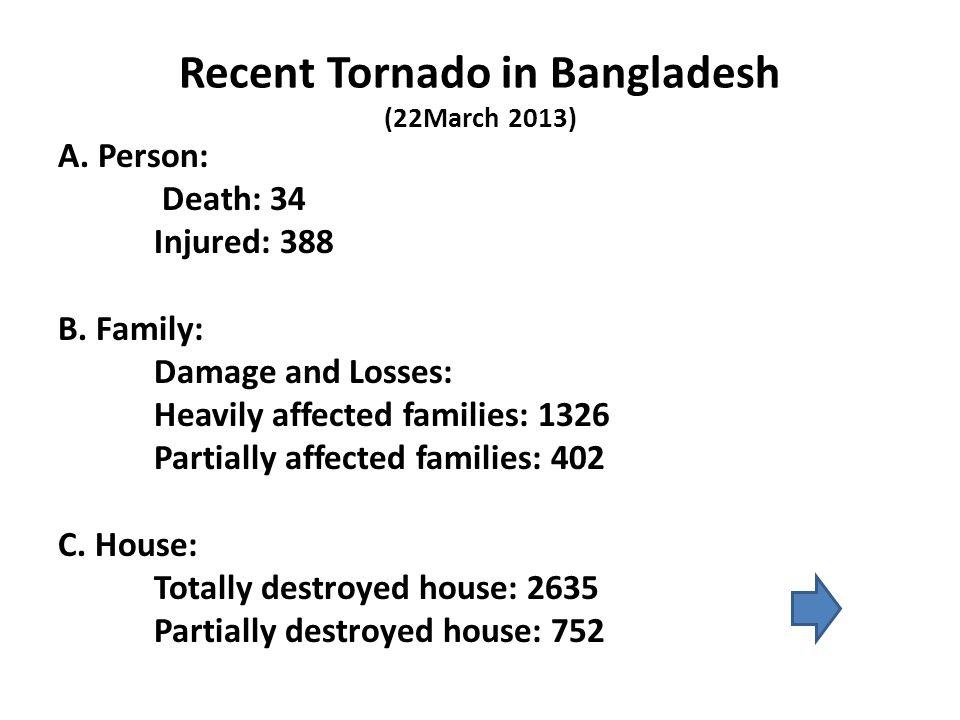 Recent Tornado in Bangladesh (22March 2013) A. Person: Death: 34 Injured: 388 B.