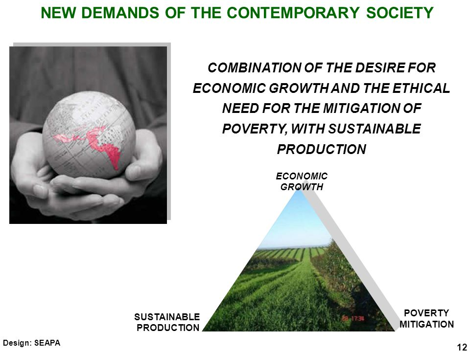 NEW DEMANDS OF THE CONTEMPORARY SOCIETY 12 COMBINATION OF THE DESIRE FOR ECONOMIC GROWTH AND THE ETHICAL NEED FOR THE MITIGATION OF POVERTY, WITH SUSTAINABLE PRODUCTION ECONOMIC GROWTH POVERTY MITIGATION SUSTAINABLE PRODUCTION 12 Design: SEAPA