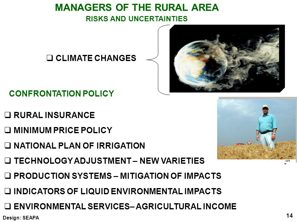 14 MANAGERS OF THE RURAL AREA RISKS AND UNCERTAINTIES Elaboração: SEAPA  CLIMATE CHANGES 14 Design: SEAPA  RURAL INSURANCE  MINIMUM PRICE POLICY  NATIONAL PLAN OF IRRIGATION  TECHNOLOGY ADJUSTMENT – NEW VARIETIES  PRODUCTION SYSTEMS – MITIGATION OF IMPACTS  INDICATORS OF LIQUID ENVIRONMENTAL IMPACTS  ENVIRONMENTAL SERVICES– AGRICULTURAL INCOME CONFRONTATION POLICY