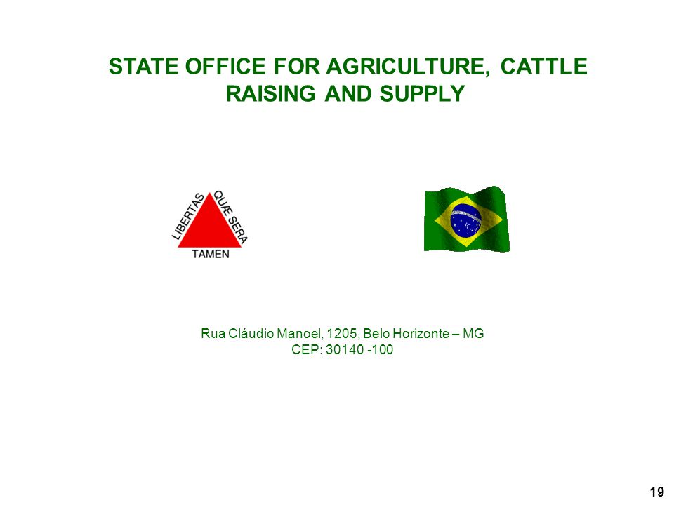 STATE OFFICE FOR AGRICULTURE, CATTLE RAISING AND SUPPLY Rua Cláudio Manoel, 1205, Belo Horizonte – MG CEP: 30140 -100 19