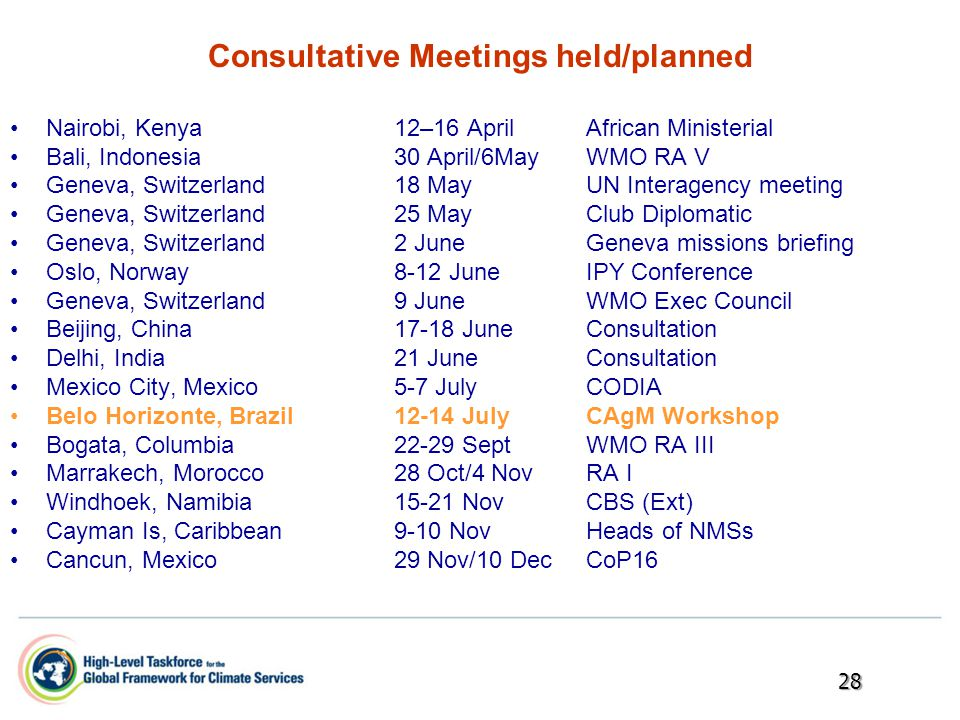 Consultative Meetings held/planned Nairobi, Kenya12–16 AprilAfrican Ministerial Bali, Indonesia30 April/6MayWMO RA V Geneva, Switzerland18 MayUN Interagency meeting Geneva, Switzerland25 MayClub Diplomatic Geneva, Switzerland2 JuneGeneva missions briefing Oslo, Norway8-12 JuneIPY Conference Geneva, Switzerland9 JuneWMO Exec Council Beijing, China17-18 JuneConsultation Delhi, India21 JuneConsultation Mexico City, Mexico5-7 JulyCODIA Belo Horizonte, Brazil12-14 JulyCAgM Workshop Bogata, Columbia22-29 SeptWMO RA III Marrakech, Morocco28 Oct/4 NovRA I Windhoek, Namibia15-21 NovCBS (Ext) Cayman Is, Caribbean9-10 NovHeads of NMSs Cancun, Mexico29 Nov/10 Dec CoP1628