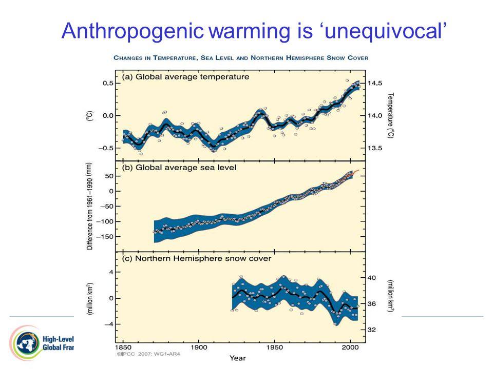 Anthropogenic warming is 'unequivocal'