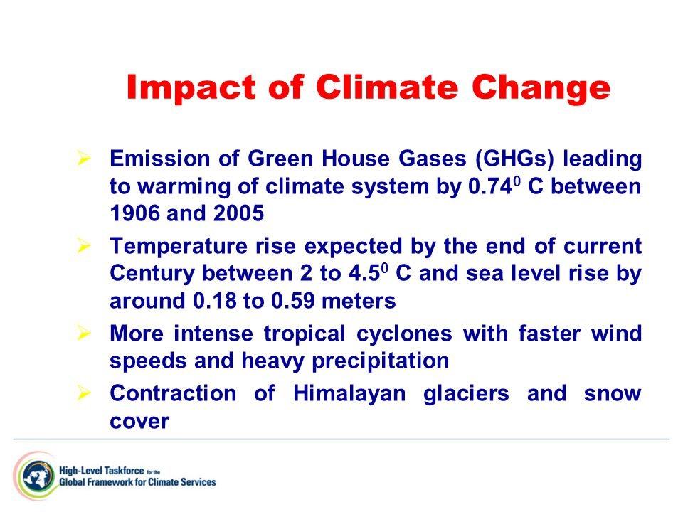 Impact of Climate Change  Emission of Green House Gases (GHGs) leading to warming of climate system by 0.74 0 C between 1906 and 2005  Temperature rise expected by the end of current Century between 2 to 4.5 0 C and sea level rise by around 0.18 to 0.59 meters  More intense tropical cyclones with faster wind speeds and heavy precipitation  Contraction of Himalayan glaciers and snow cover