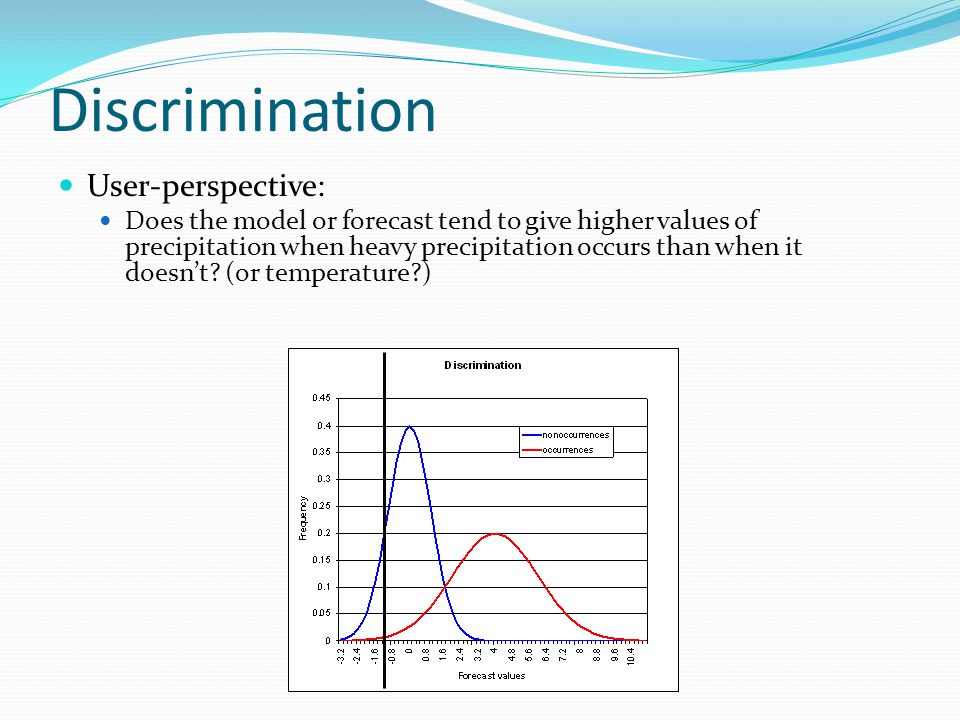 Discrimination User-perspective: Does the model or forecast tend to give higher values of precipitation when heavy precipitation occurs than when it doesn't.