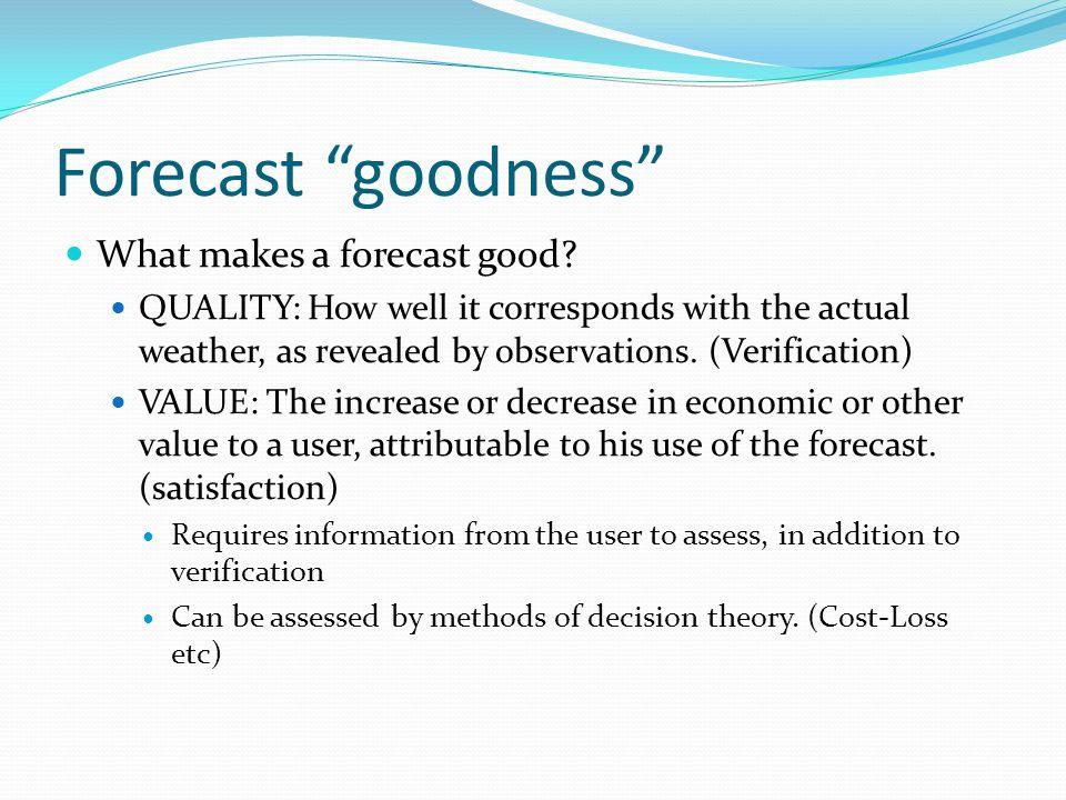 Forecast goodness What makes a forecast good.