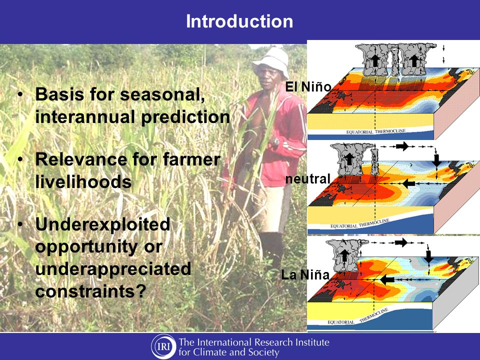 Introduction Basis for seasonal, interannual prediction Relevance for farmer livelihoods Underexploited opportunity or underappreciated constraints.