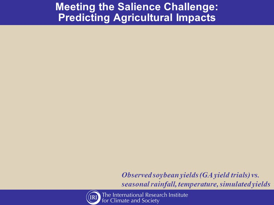 Meeting the Salience Challenge: Predicting Agricultural Impacts Observed soybean yields (GA yield trials) vs.