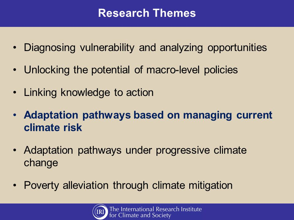 Research Themes Diagnosing vulnerability and analyzing opportunities Unlocking the potential of macro-level policies Linking knowledge to action Adaptation pathways based on managing current climate risk Adaptation pathways under progressive climate change Poverty alleviation through climate mitigation