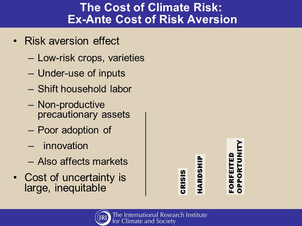 The Cost of Climate Risk: Ex-Ante Cost of Risk Aversion Risk aversion effect –Low-risk crops, varieties –Under-use of inputs –Shift household labor –Non-productive precautionary assets –Poor adoption of –innovation –Also affects markets Cost of uncertainty is large, inequitable CRISIS HARDSHIP FORFEITED OPPORTUNITY