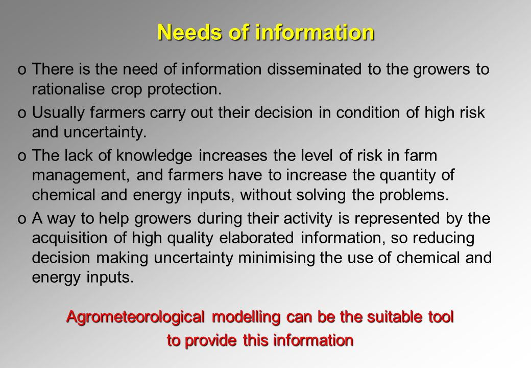 Needs of information oThere is the need of information disseminated to the growers to rationalise crop protection.