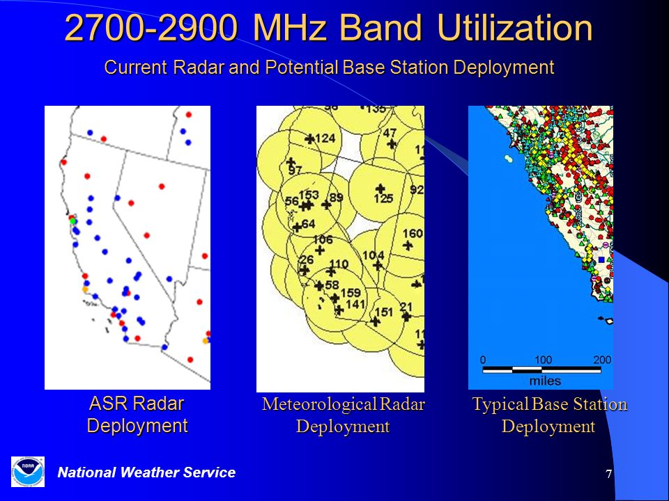 National Weather Service 7 2700-2900 MHz Band Utilization Current Radar and Potential Base Station Deployment ASR Radar Deployment Meteorological Radar Deployment Typical Base Station Deployment