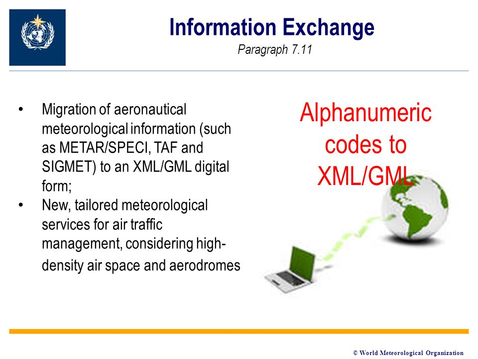 © World Meteorological Organization Information Exchange Paragraph 7.11 Alphanumeric codes to XML/GML Migration of aeronautical meteorological information (such as METAR/SPECI, TAF and SIGMET) to an XML/GML digital form; New, tailored meteorological services for air traffic management, considering high- density air space and aerodromes