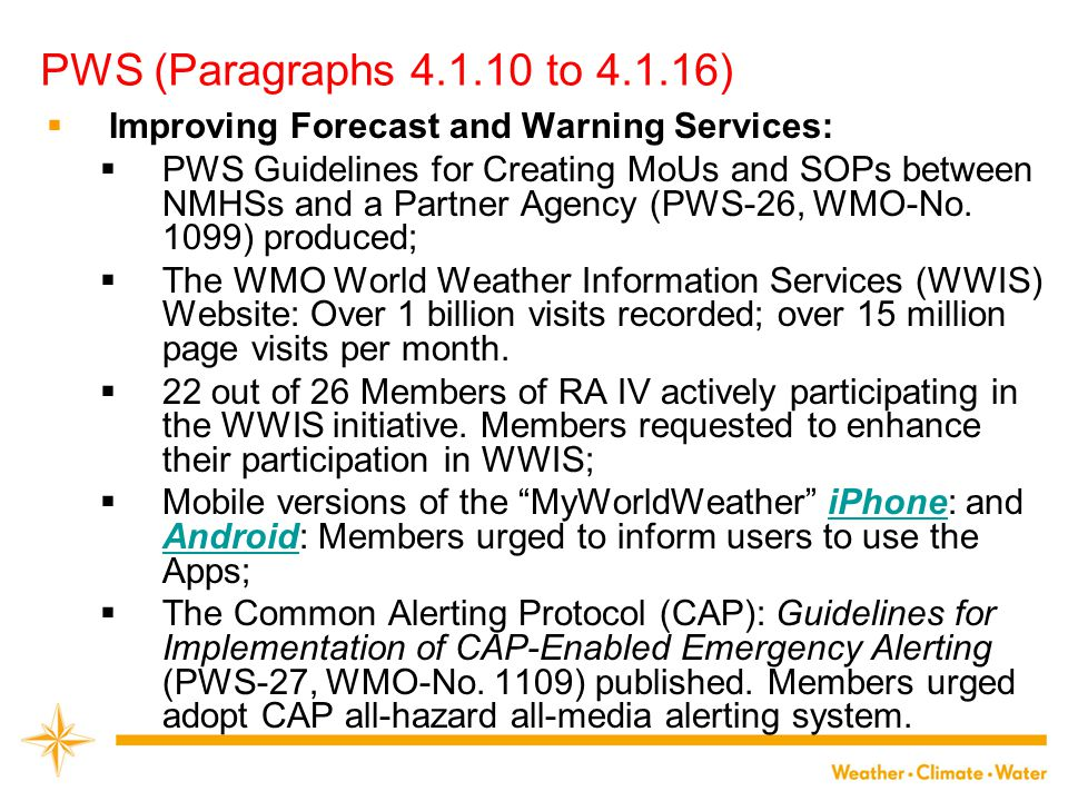  Improving Forecast and Warning Services:  PWS Guidelines for Creating MoUs and SOPs between NMHSs and a Partner Agency (PWS-26, WMO-No. 1099) produ