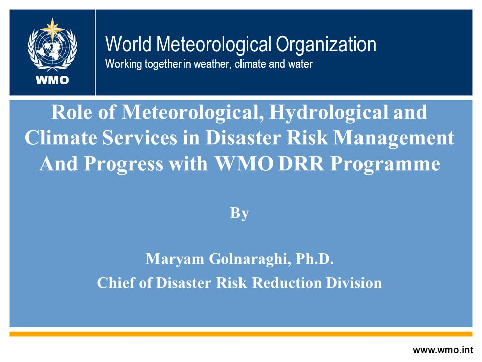 WMO DRR Strategy: Engaging in National and Regional Development Projects with partners that influence National Programmes and Funding Partners Agency Type Coordinatio n National DRR Implementatio n Funding World Bank (GFDRR) Development XX ISDR Coordination XX UNDP Development X XX WFP, FAO Agriculture XXX UN- OCHA, IFRC Humanitarian XX Donors (EC, etc) Donor X Regional Centers and agencies X X X