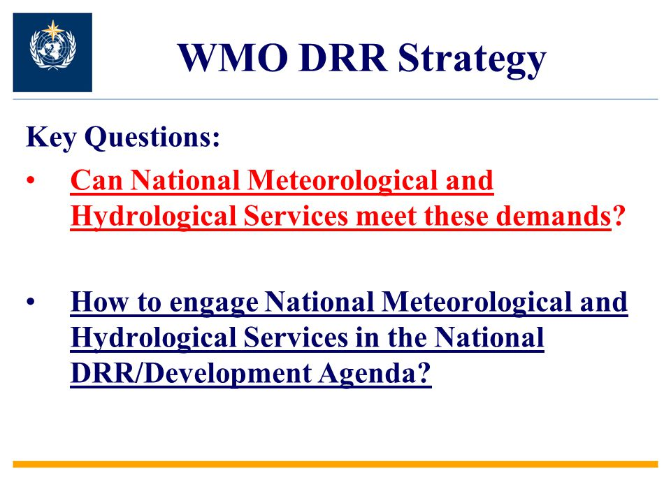 WMO DRR Strategy Key Questions: Can National Meteorological and Hydrological Services meet these demands.