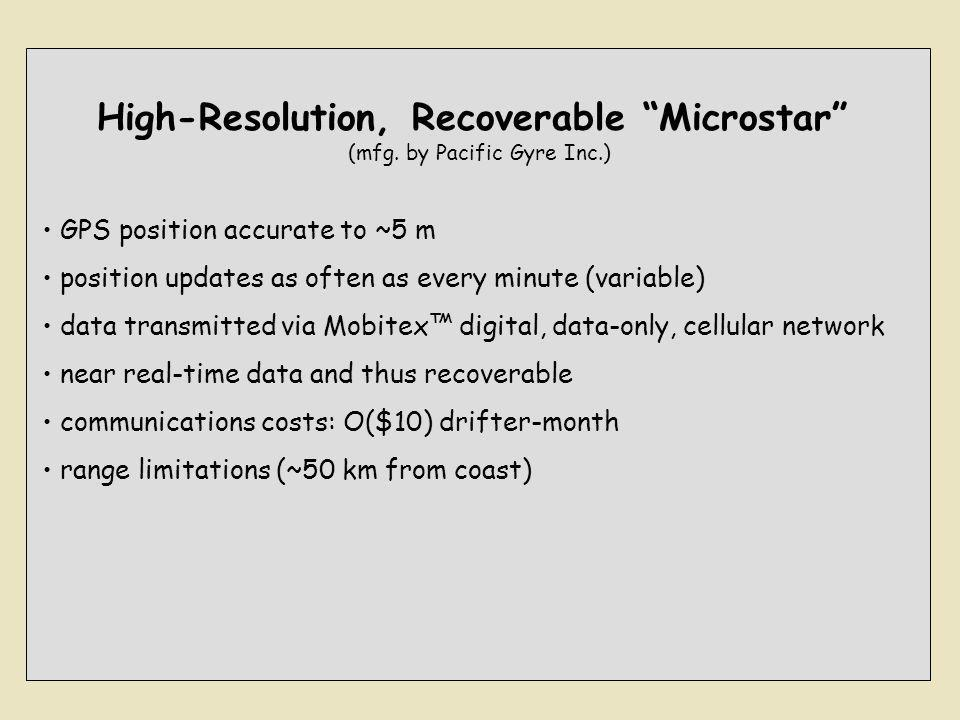 "High-Resolution, Recoverable ""Microstar"" (mfg. by Pacific Gyre Inc.) GPS position accurate to ~5 m position updates as often as every minute (variable"