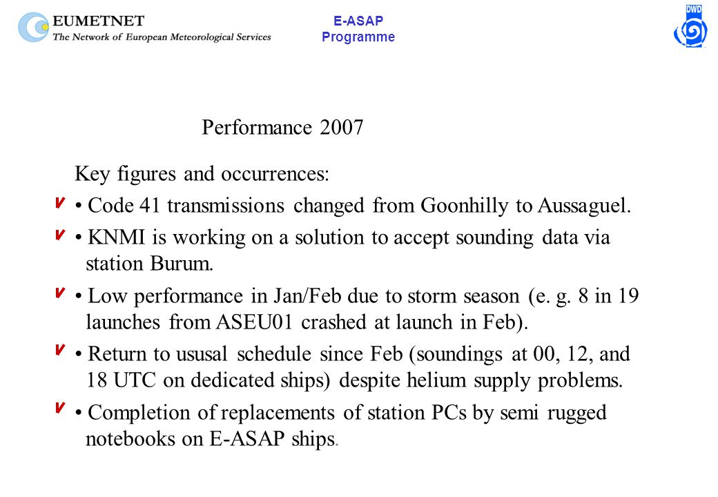 E-ASAP Programme Performance 2007 Key figures and occurrences: Code 41 transmissions changed from Goonhilly to Aussaguel.