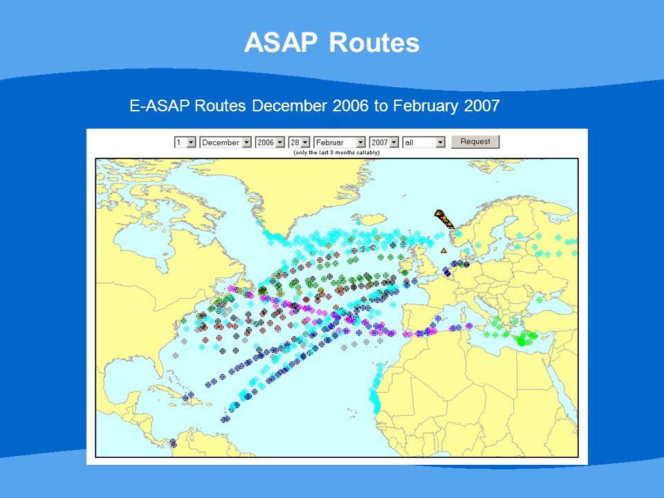E-ASAP Routes December 2006 to February 2007 ASAP Routes